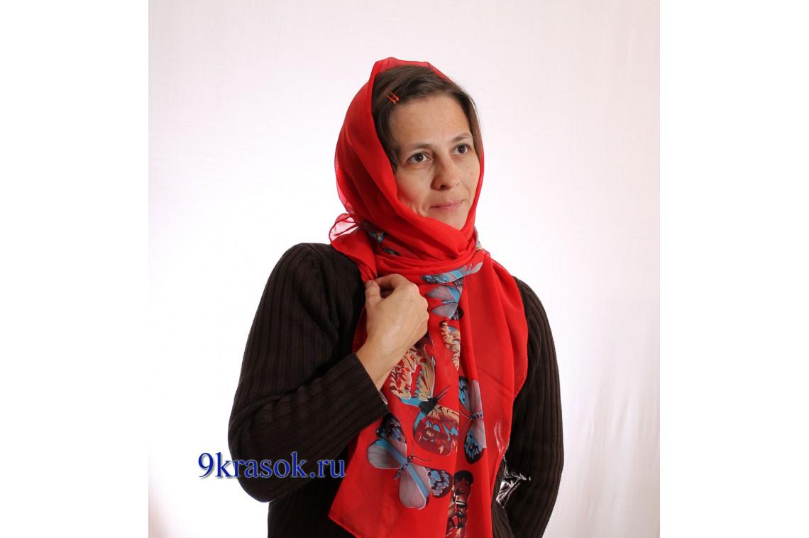 Красный платок женский