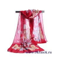 Платок шифоновый красный шарф в конверте