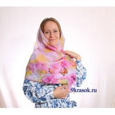 Шифоновый платок шарф розовый с розами в подарочном конверте