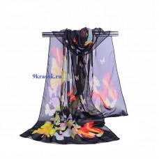 Шифоновый шарф чёрный с красными бабочками платок в подарочном конверте