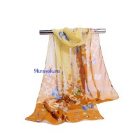 Бежевый шифоновый шарф платок в подарочном конверте
