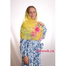 Жёлтый платок шифоновый шарф в конверте