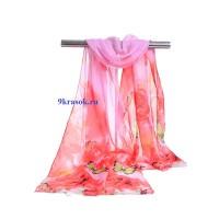 Розовый шифоновый платок шарф в подарочном конверте
