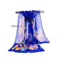 Синий шифоновый шарф платок в конверте