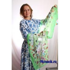 Зелёный шифоновый шарф платок в подарочном конверте